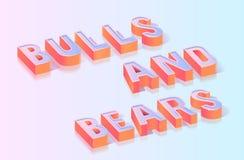 Los toros y los osos titulan la plantilla isométrica del vector libre illustration