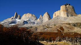Los Torres mountains in the Torres del Paine National Park in Patagonia, Chile. royalty free stock photos