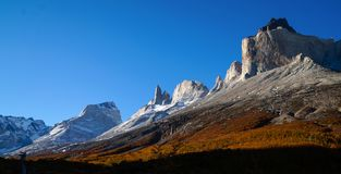 Los Torres mountains in the Torres del Paine National Park in Patagonia, Chile. Stock Photo