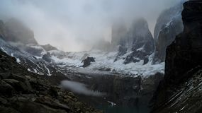 Los Torres mountains in the Torres del Paine National Park in Patagonia, Chile. Royalty Free Stock Image