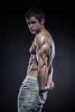 Los tríceps de presentación modelo de la aptitud atlética fuerte del hombre muscle Fotos de archivo libres de regalías