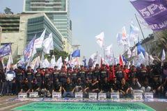 Los trabajadores celebraron la demostración en Jakarta Imágenes de archivo libres de regalías