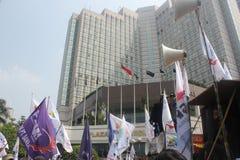 Los trabajadores celebraron la demostración en Jakarta Fotos de archivo libres de regalías