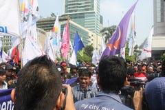 Los trabajadores celebraron la demostración en Jakarta Fotografía de archivo