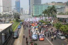 Los trabajadores celebraron la demostración en Jakarta Imagenes de archivo