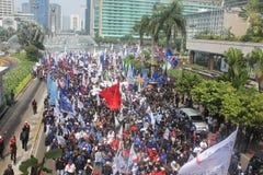 Los trabajadores celebraron la demostración en Jakarta Fotografía de archivo libre de regalías