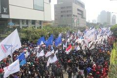 Los trabajadores celebraron la demostración en Jakarta Foto de archivo libre de regalías