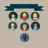 Los trabajadores de construcción fijaron los iconos para su diseño Imagen de archivo