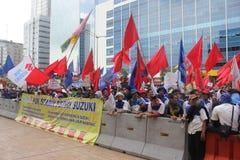Los trabajadores indonesios protestan en Día del Trabajo Imagenes de archivo
