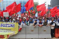 Los trabajadores indonesios se reúnen en Día del Trabajo Imagen de archivo libre de regalías