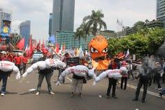 Los trabajadores indonesios se reúnen en Día del Trabajo Fotografía de archivo libre de regalías