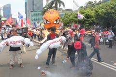 Los trabajadores indonesios se reúnen en Día del Trabajo Foto de archivo libre de regalías