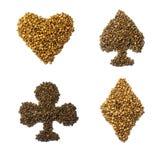 Los trajes de los naipes, corazones aporrean los diamantes de las espadas hechos franco Imagen de archivo libre de regalías