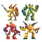 Los transformadores del vector fijaron, los robots de la batalla con los armas stock de ilustración