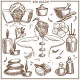 Los tratamientos del salón del BALNEARIO bosquejan los iconos del vector para el skincare de la mujer o el diseño del centro de l libre illustration