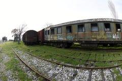 Los trenes del nostálgico parquearon en la estación para los visitantes, Estambul, Turquía de Haydarpasa ` 2017 de marzo foto de archivo