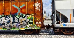 Los trenes paran fotografía de archivo libre de regalías