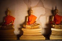 Los tres Buda de oro Imágenes de archivo libres de regalías