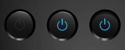 Los tres estados del botón de encendido negro. Fotografía de archivo libre de regalías