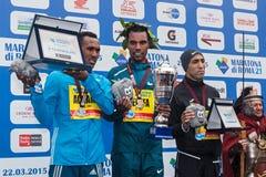 Los tres ganadores de la competencia de los hombres de la 21a Roma Mara Imagenes de archivo