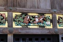 Los tres monos sabios encontraron en el templo de Toshogu Oiga, hable, vea Fotografía de archivo libre de regalías