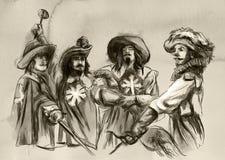 Los tres mosqueteros Un ejemplo dibujado mano Drawi a pulso libre illustration