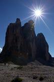 Los tres picos encendidos por el sol Imagen de archivo