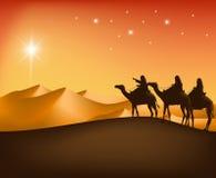 Los tres reyes Riding con los camellos en el desierto ilustración del vector