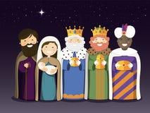 Los tres reyes y la familia santa en el día de la epifanía ilustración del vector