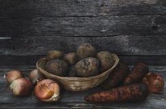Los tubérculos de patatas, de cebollas y de zanahorias Fotografía de archivo