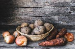Los tubérculos de patatas, de cebollas y de zanahorias Fotos de archivo libres de regalías