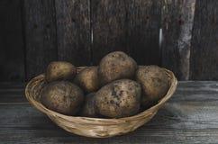Los tubérculos de patatas en una cesta de mimbre Fotografía de archivo libre de regalías