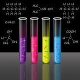 Los tubos de ensayo fijaron con el líquido y las bacterias célula y píloros Vector Foto de archivo libre de regalías