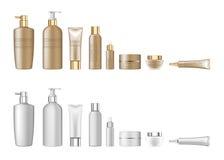 los tubos vacíos determinados del paquete cosmético realista blanco 3d en el fondo blanco vector el ejemplo stock de ilustración