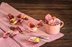 Los tulipanes del concepto del vajilla de la loza de la primavera florecen el fondo del rosa del color en colores pastel Tazas de fotografía de archivo