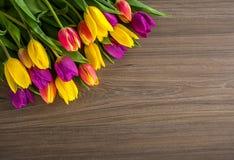 Los tulipanes en un fondo de madera, primavera florecen Fotografía de archivo