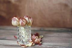 los tulipanes florecen el vintage de cristal del florero del fondo de madera del primer del ramo imagen de archivo