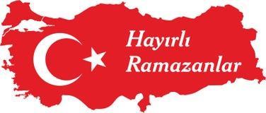 Los turcos felices del Ramad?n hablan: Hayirli ramazanlar ilustración del vector