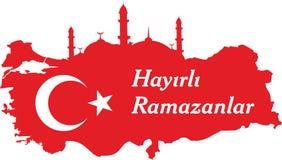 Los turcos felices del Ramad?n hablan: Hayirli ramazanlar stock de ilustración
