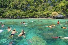 Los turistas gozan con bucear en un mar tropical en el isla de Phi Phi Fotografía de archivo libre de regalías