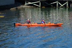 Los turistas montan los kajaks del mar en el puerto de la barra, Maine Imágenes de archivo libres de regalías