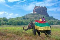 Los turistas que montan en un elefante viajan alrededor de la roca de Sigiriya Fotografía de archivo