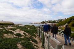 Los turistas que van a visitar a la colonia de los pingüinos en los cantos rodados varan, sur Fotos de archivo
