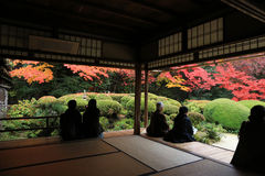 Los turistas se sientan y observan que cultiva un huerto la temporada de otoño de Shisen- Imagen de archivo