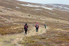 Los turistas suben al top de la montaña de Runa en Cárpatos Foto de archivo libre de regalías