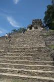 Los turistas suben las escaleras en el sitio de Palenque en México fotografía de archivo libre de regalías