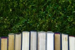 Los tutoriales del libro están en la hierba verde fotos de archivo