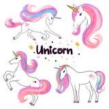 Los unicornios hermosos de la acuarela fijaron en colores rosados y púrpuras stock de ilustración