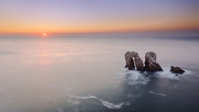 Los Urros in Costa Quebrada at sunset Royalty Free Stock Photography