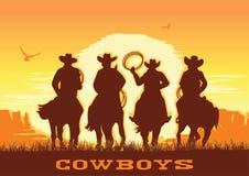 Los vaqueros siluetean caballos de montar a caballo en el paisaje de la puesta del sol Desierto de la pradera del vector con el s ilustración del vector